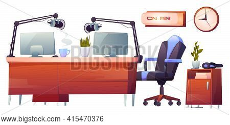 Radio Station Studio Interior Stuff Set. Table With Microphones, Pc, On Air Signboard And Profession