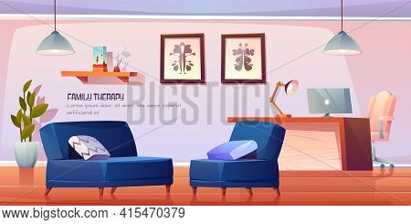 Psychologist, Psychotherapist Office With Stuff And Furniture For Family Therapy, Practitioner Cabin