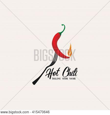 Hot Chili Design Logo Vector. Chili Design Logo Restaurant