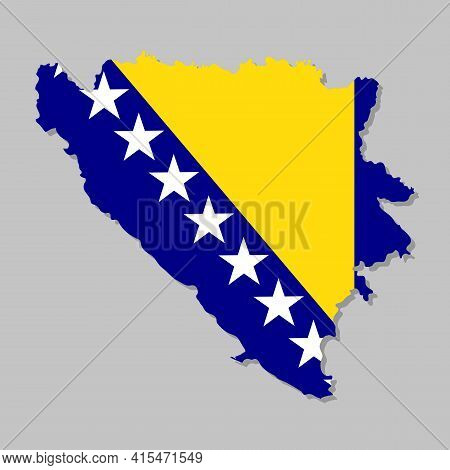 Highly Detailed Map Of Bosnia With Flag