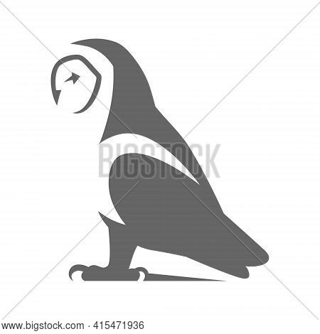 Barn Owl Side View Symbol On White Backdrop. Design Element