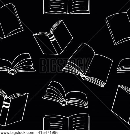 Books Seamless Pattern. Hand Drawn Doodle Style. Vector, Minimalism, Monochrome, Sketch. Wallpaper,