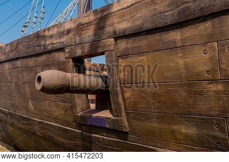 Canon Barrel Protruding From Side Of Replica 14th Century British Vessel Lyra At Maryong Port Park I