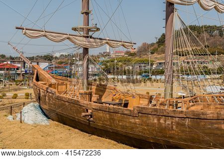 Seocheon, South Korea; March 23, 2021: Replica Of 14th Century British Ship, Lyra, In Park At Maryon