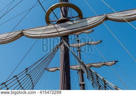 Mast, Rigging And Sails Of Replica 14th Century British Sailing Vessel In Maryong Port In South Kore