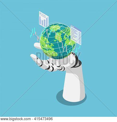 Flat 3d Isometric Ai Artificial Intelligence Analysis Stock Market Data Around The World. Ai Machine