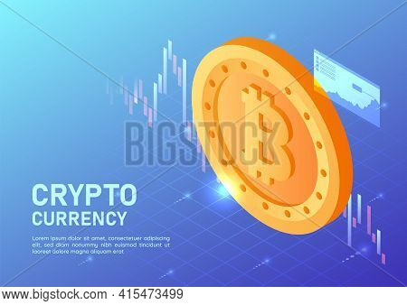 3d Isometric Web Banner Golden Bitcoin With Virtual Stock Market Graph. Cryptocurrency Concept.