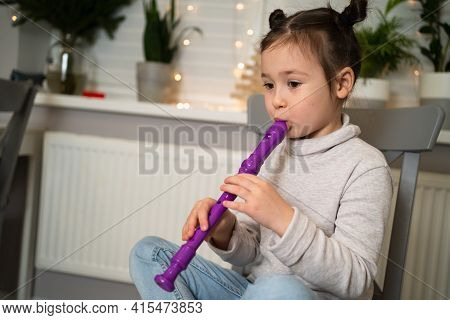 A Talented Girl Plays The Flute. Online Learning To Play Musical Instruments.