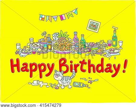 Happy Birthday Card With Festive Tableful Of Various Drinks And Tasty Food After A Noisy And Funny P
