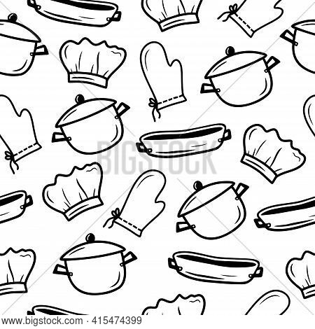 Seamless Pattern With Hand Drawn Cooking Pan, Baking Dish, Potholder And Chef Hat On A White Backgro
