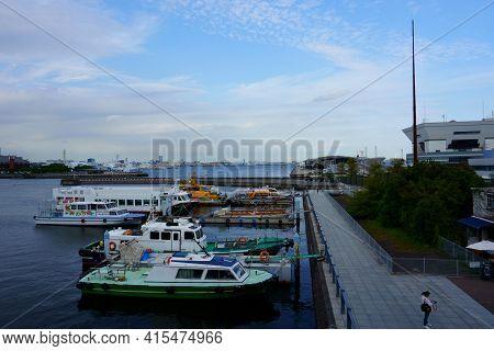 Kanagawa Prefecture  Japan - Sept 12, 2019: Small Boats On Dock. Osanbashi Pier Main International P