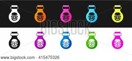 Set Poison In Bottle Icon Isolated On Black And White Background. Bottle Of Poison Or Poisonous Chem