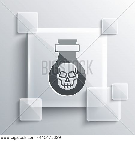 Grey Poison In Bottle Icon Isolated On Grey Background. Bottle Of Poison Or Poisonous Chemical Toxin