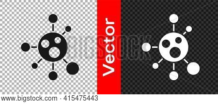 Black Molecule Icon Isolated On Transparent Background. Structure Of Molecules In Chemistry, Science
