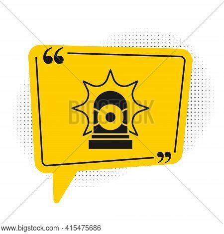 Black Flasher Siren Icon Isolated On White Background. Emergency Flashing Siren. Yellow Speech Bubbl