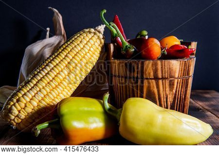 Fresh Corncob With Chili Peppers And Tomatoes Organic Vegetables Natural Food In Bucket, Mexican