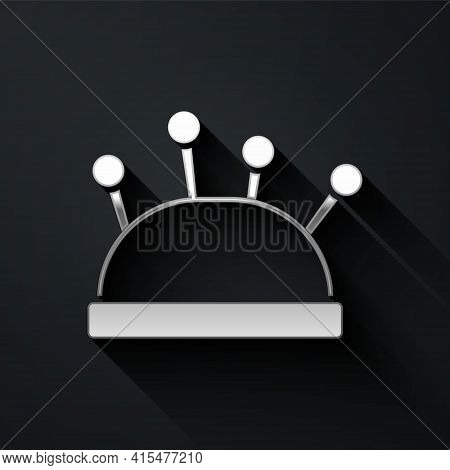 Silver Needle Bed And Needles Icon Isolated On Black Background. Handmade And Sewing Theme. Long Sha