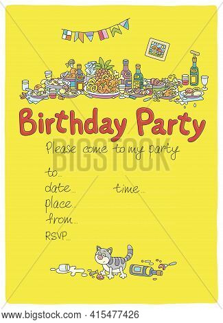 Birthday Party Invitation Card With Festive Tableful Of Various Drinks And Tasty Food After A Noisy