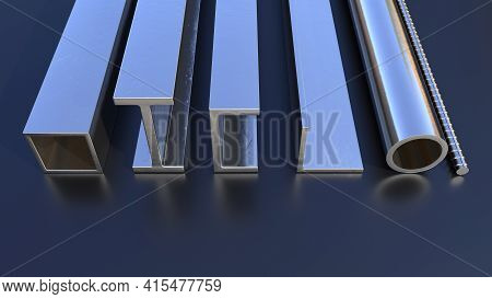 Different Rolled Metal On The Floor, Concept Industrial 3d Illustration