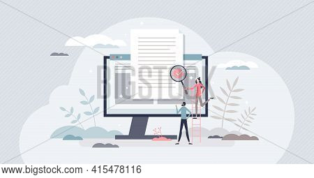 Reviewing Paperwork And Checking For Mistakes Or Errors Tiny Person Concept