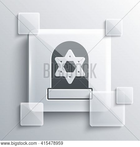 Grey Tombstone With Star Of David Icon Isolated On Grey Background. Jewish Grave Stone. Gravestone I
