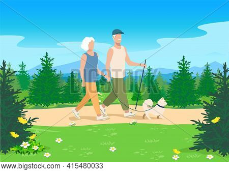 An Elderly Married Couple With A Dog Are Walking Along A Path In The Forest. Vector Illustration Of