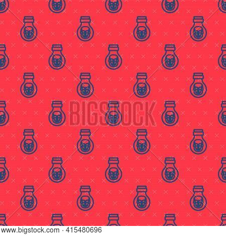 Blue Line Poison In Bottle Icon Isolated Seamless Pattern On Red Background. Bottle Of Poison Or Poi