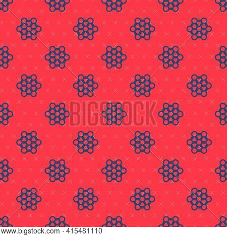 Blue Line Molecule Icon Isolated Seamless Pattern On Red Background. Structure Of Molecules In Chemi