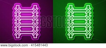 Glowing Neon Line Fire Escape Icon Isolated On Purple And Green Background. Pompier Ladder. Fireman
