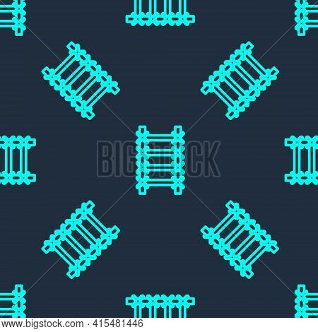 Green Line Fire Escape Icon Isolated Seamless Pattern On Blue Background. Pompier Ladder. Fireman Sc