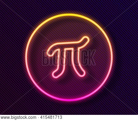 Glowing Neon Line Pi Symbol Icon Isolated On Black Background. Vector
