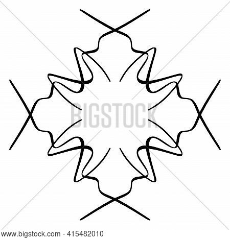 Vector Seamless Pattern Tile. A Decorative Symmetrical Element, Hand Drawn In Ink (digital Design).