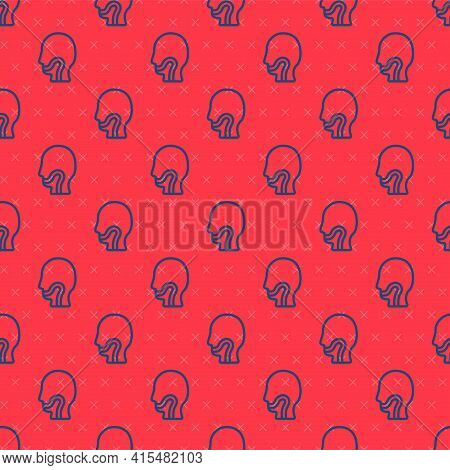 Blue Line Sore Throat Icon Isolated Seamless Pattern On Red Background. Pain In Throat. Flu, Grippe,