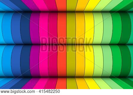 Multicolor Wheels Abstract Background 3d Render Illustration