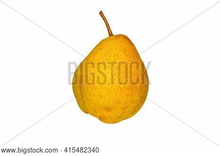 Ripe Yellow Pear (latin: Pyrus) Close-up, Isolated On A White Background.