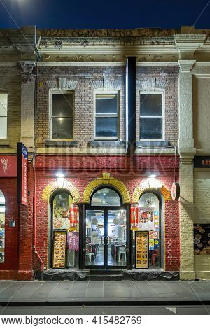Melbourne, Australia - May 16, 2019: Night View Of A Shop Front To A Chinese Restaurant Along Little