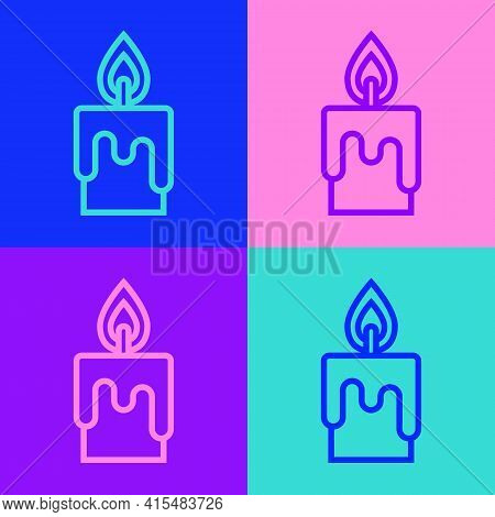 Pop Art Line Burning Candle Icon Isolated On Color Background. Cylindrical Candle Stick With Burning