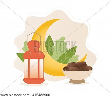 Iftar Party Celebration Concept Flyer. Sweet Dates, Moon And Fanous Lantern. Islamic Holy Month. Ram