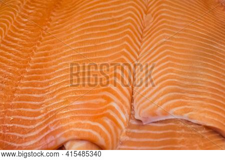 Prepared Pieces Of Delicious Fresh Salmon Gourmet Fish Fillet. Traditional Healthy Sea Food From Sea
