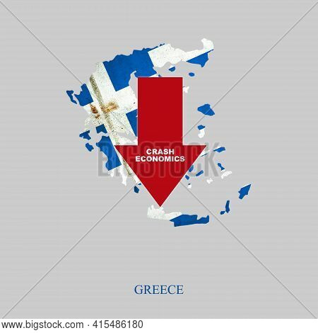 Crash Economics, Greece. Red Down Arrow On The Map Of Greece. Economic Decline. Downward Trends In T