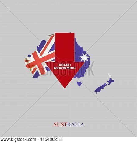 Crash Economics, Australia. Red Down Arrow On The Map Of Australia. Economic Decline. Downward Trend