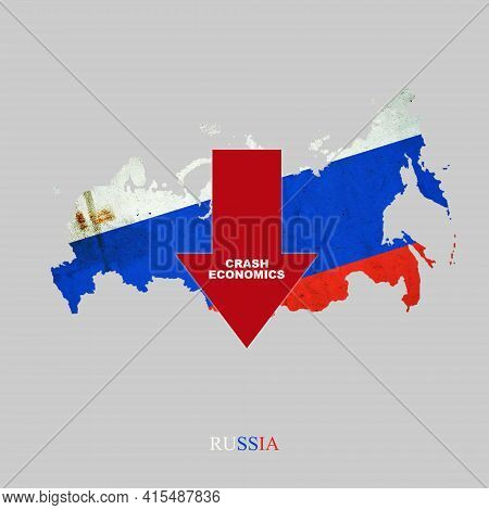 Crash Economics, Russia. Red Down Arrow On The Map Of Russia. Economic Decline. Downward Trends In T