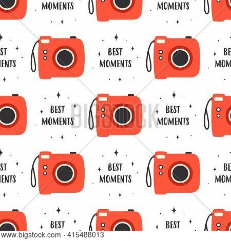 Seamless Pattern Of Photocameras On White Background, Vector Illustration, Flat Design