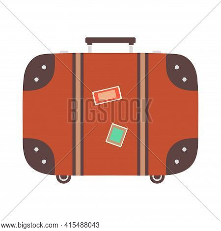 Old Style Vintage Brown Voyage Suitcase Decorated With Stickers Isolated On White Background, Flat S