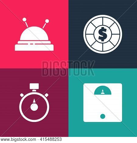 Set Pop Art Bathroom Scales, Stopwatch, Casino Chips And Needle Bed And Needles Icon. Vector
