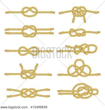 Rope String And Twine With Knots Node And Noose Realistic Color Decorative Icon Set Isolated Vector