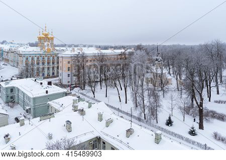 Tsarskoye Selo, Saint-petersburg, Russia - February 24, 2021: Top View Of The Lyceum Garden With The