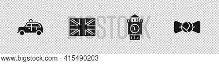 Set Taxi Car, Flag Of Great Britain, Big Ben Tower And Bow Tie Icon. Vector