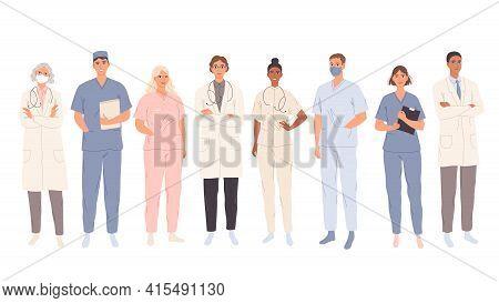 Doctors, Medical Students Workers, Medics And Nurses. Representatives Of Different Medical Specialti