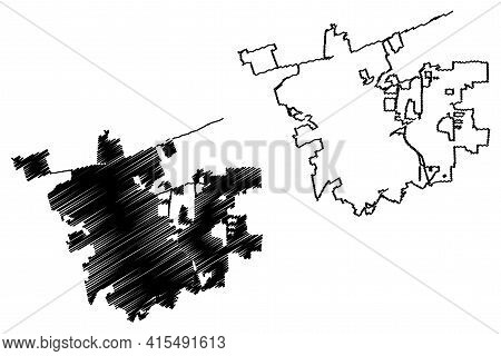 Round Rock City, Texas (united States Cities, United States Of America, Usa City) Map Vector Illustr